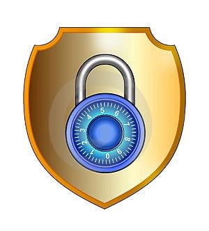 Arte vettoriale di uno Scudo con lucchetto hacker safe.