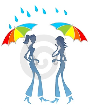 Girls Talk Under A Rain Stock Photography - Image: 3422382