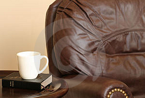 Chair with Bible and Mug