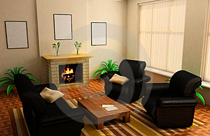 Modern interior 3d Royalty Free Stock Photography