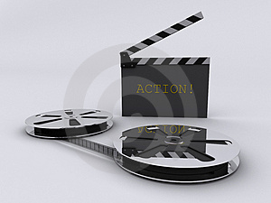 Strip film and clapperboard Stock Photo