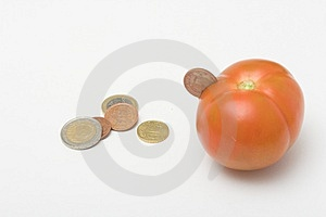Coin Inserted In Tomato Royalty Free Stock Images - Image: 356479