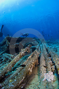 Diver On Wreck Stock Image - Image: 3516341