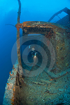 Woman Diver On Ship Wreck Stock Images - Image: 3516464