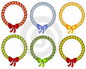 Candy Cane Wreath Bow Frames Royalty Free Stock Photos - Image: 3528828