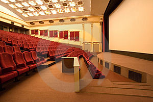 Empty cinema auditorium Royalty Free Stock Images