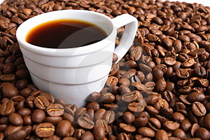 Cup coffee And coffee grain