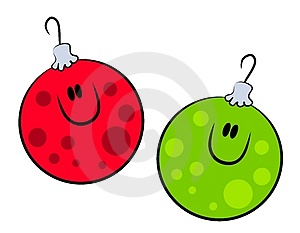 Cartoon Smiling Xmas Ornaments Royalty Free Stock Photos - Image: 3551038