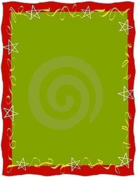 Red Green Ribbons Stars Border Stock Photos - Image: 3551533