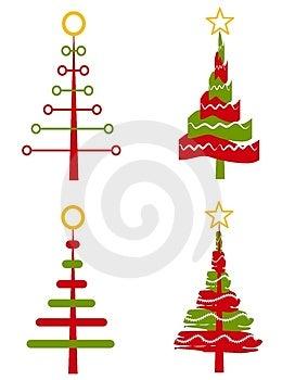 Klip umění ilustrace pro váš výběr 4 unikátní abstraktní Vánoční stromy v jednoduchých barvách izolovaných na bílém.
