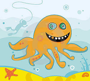 Cute Friendly Octopus Stock Image - Image: 3582481
