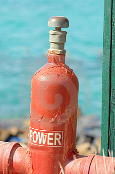 Gas Cylinder Beside Red Sea Stock Image - Image: 3619631