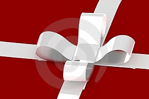 White Ribbon On White Present Royalty Free Stock Photos - Image: 3631998