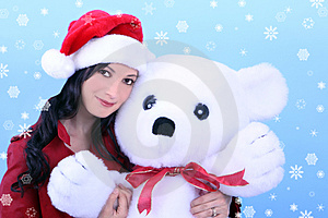 Young Woman And Teddy Bear Royalty Free Stock Image - Image: 3638826