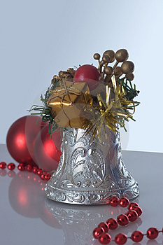 Christmas bell and christmas balls Royalty Free Stock Images