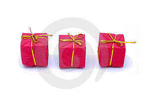 Christmas Gift Box With Golden Ribbon Stock Image - Image: 3644421