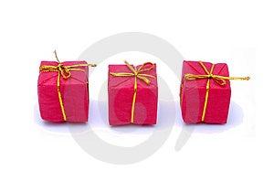 Christmas Gift Box With Golden Ribbon Stock Image - Image: 3644421