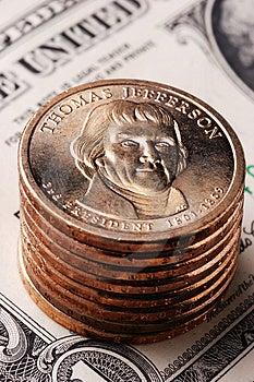 Amerikanische Dollar-Münze Stockfoto - Bild: 3651300