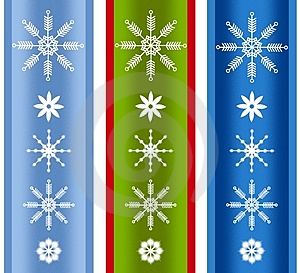 Various Xmas Snowflake Borders Royalty Free Stock Images