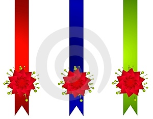 Decorative Christmas Ribbons And Bows Borders Royalty Free Stock Photography - Image: 3667507