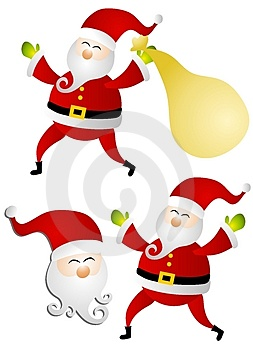 Various Isolated Santa Claus Clip Art Stock Photo
