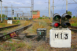 Traffic Light №13 On The Railway Royalty Free Stock Photography - Image: 3687597