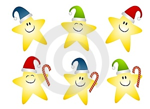 Smiling Gold Christmas Stars Clip Art Royalty Free Stock Photography