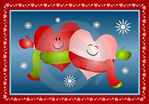 Hugging Xmas Hearts Wearing Scarves Royalty Free Stock Photo - Image: 3696825