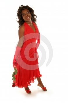 Red Rose And Red Dress Stock Image - Image: 375011