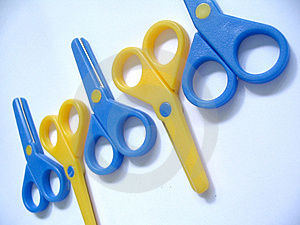 Blue & Yellow Scissors Royalty Free Stock Photos - Image: 376968