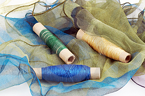 Green Blue Silk And Matching Threads Stock Images - Image: 3710594