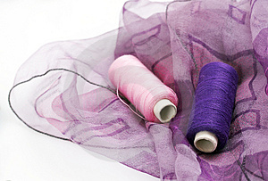 Purple Silk And Matching Threads Royalty Free Stock Photography - Image: 3710697
