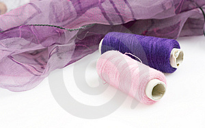 Purple Silk And Matching Threads Royalty Free Stock Photography - Image: 3710717