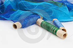 Blue Green H Silk And Matching Threads Stock Image - Image: 3710811