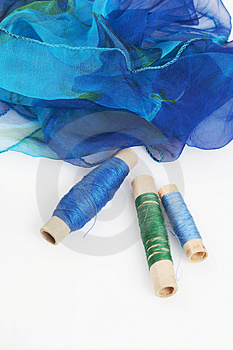 Blueish Silk And Matching Threads Royalty Free Stock Photography - Image: 3710837