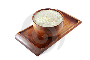 Bowl Of Rice On Wooden Tray Royalty Free Stock Image - Image: 3716196