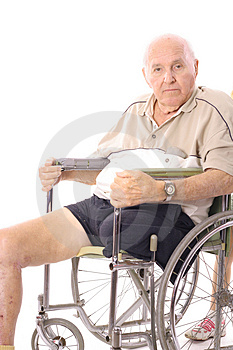 Eldery man in wheelchair vertical Royalty Free Stock Image