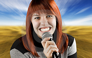 Joyful Girl Singing On The Karaoke Stock Images - Image: 3719114