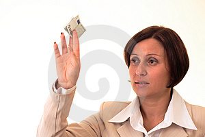 White Businesswoman With Five Euros Stock Images - Image: 3723874