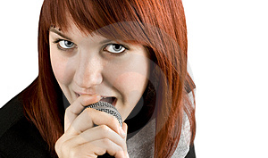 Girl Singing Karaoke On Microphone Royalty Free Stock Photography - Image: 3737007