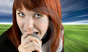 Girl Singing Karaoke On Microphone Stock Photography - Image: 3737022