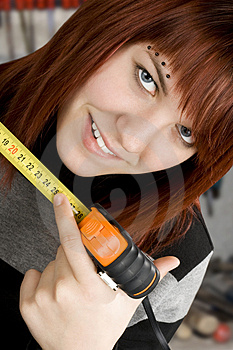 Girl Using Measuring Tape Stock Photos - Image: 3741563