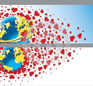 Planet Earth With Wedding Rings And Flying Hearts. Royalty Free Stock Image - Image: 37420606