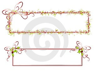 Decorative Ribbon and Holly Banners Royalty Free Stock Images