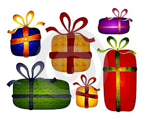 Rustic Folksy Christmas Gifts Clip Art