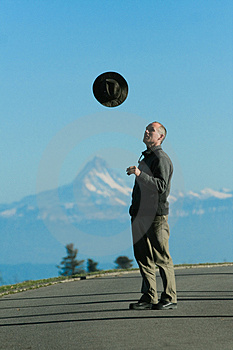 Man Throw Hat Stock Image - Image: 3761331
