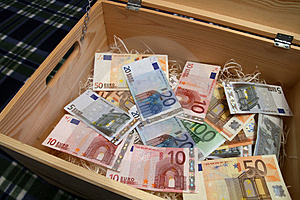 Box of money Royalty Free Stock Photography