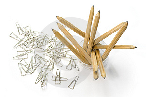 Pencils And Paper Clips Royalty Free Stock Photo - Image: 3765345