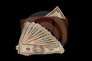 Wallet With Two Dollar Bill Stock Photos - Image: 3774483
