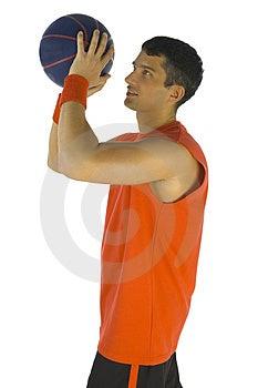 Basketeer Throwing Ball Stock Photo - Image: 3776580